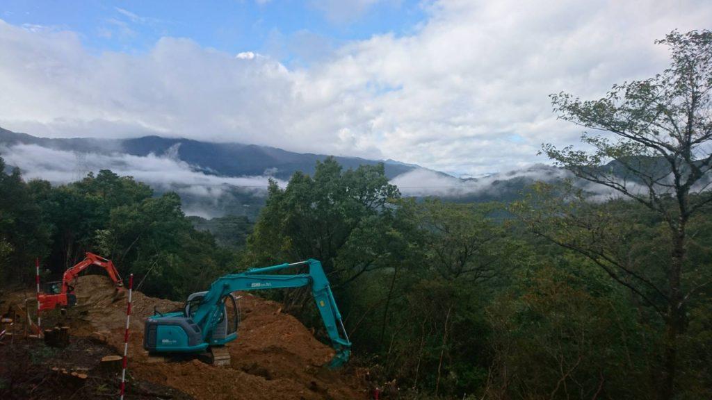 山上での施工風景