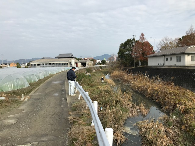 徳島県藍住町前川の河道掘削工事です。施工前