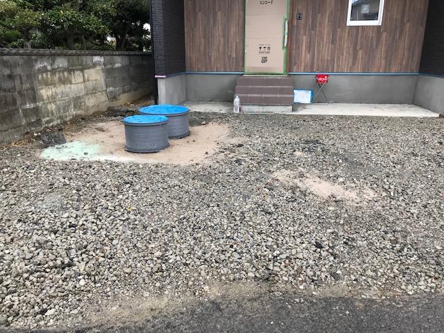 徳島県鳴門市での駐車場等の工事。施工前状況