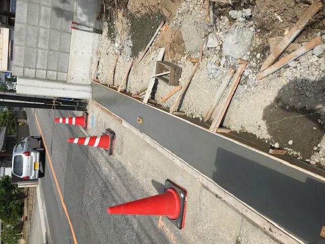 車の出入り口となる部分のコンクリート打設